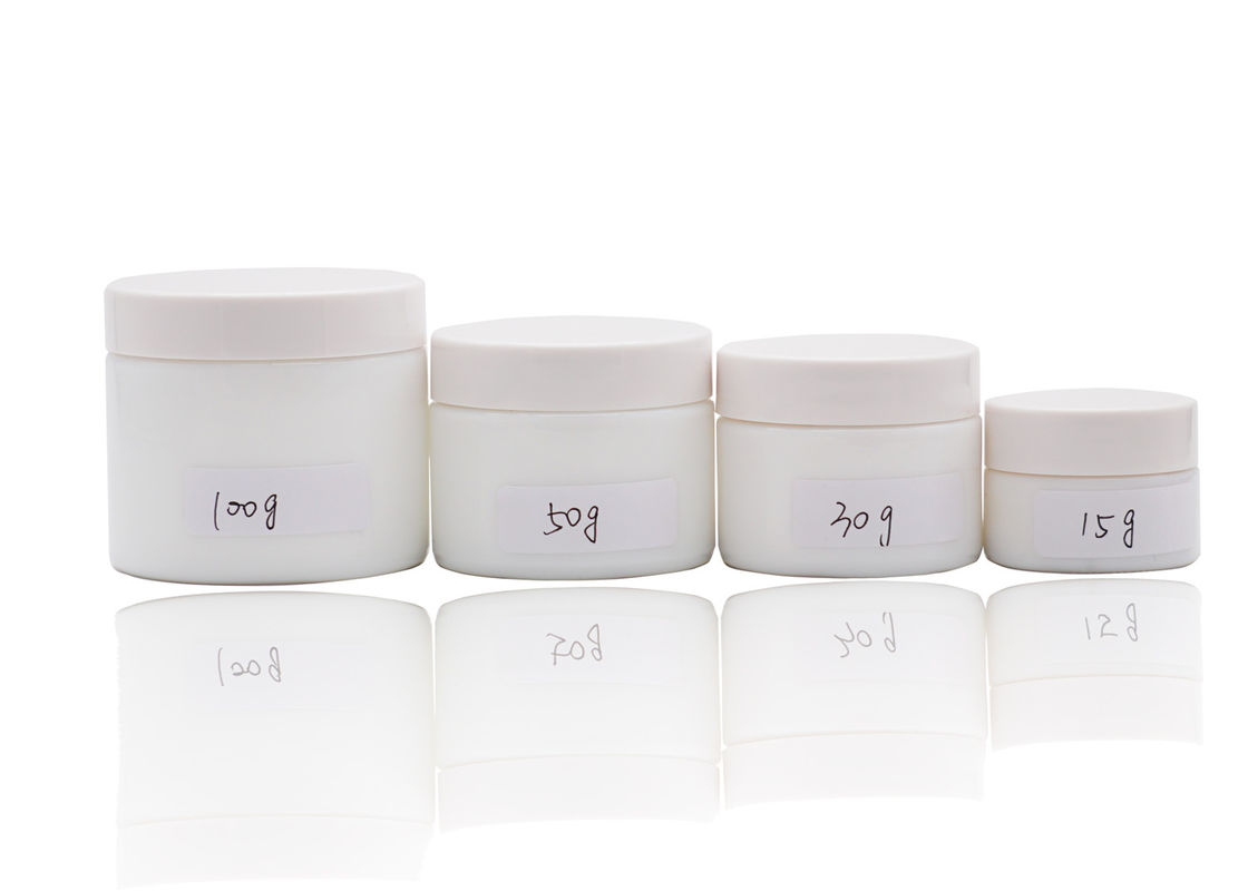 Compact White Empty Cream Jars With Lids For Cosmetics 15g 30g 50g 100g